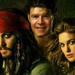 Fotomontaje con los personajes de la película Piratas del Caribe