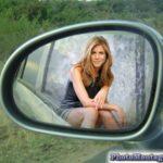 Fotomontaje en espejo de carro
