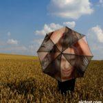 Fotomontaje en una sombrilla