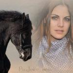Fotomontaje cerca de un caballo