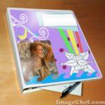 Fotomontaje en cuaderno
