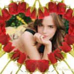 Fotomontaje en corazón formado con rosas