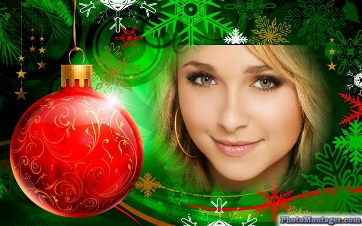 Hacer fotomontajes gratis, en adornos navideños con photomontager.com