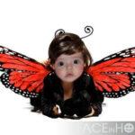 Fotomontaje en disfraz de mariposa