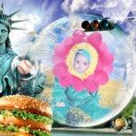 Fotomontaje en bienvenida a Estados Unidos