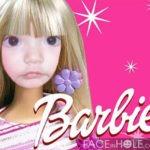 Fotomontaje en el rostro de una barbie