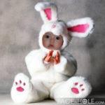 Fotomontaje para niños en disfraz de conejito