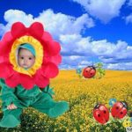 Fotomontaje gratis de disfraz de flor con fondo vegetal