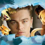 Fotomontaje en marco de fotos con los personajes de película era de hielo
