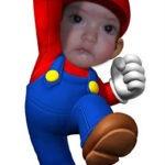 Fotomontaje en el rostro de Super Mario Bros