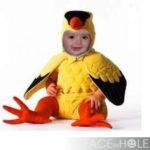 Fotomontaje en disfraz de un ave