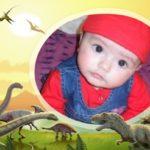 Fotomontaje en marco para fotos con dinosaurios