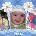 Fotomontaje con flores para tres fotos