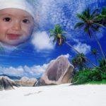 Fotomontaje en una isla paradisiaca