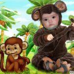 Fotomontaje en disfraz de un mono
