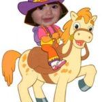 Hacer fotomontaje gratis de Dora La Exploradora en su caballo