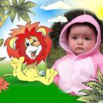 Marco para fotos de un león en la jungla