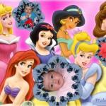 Fotomontaje con tres fotos junto a las princesas de Disney