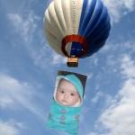 Fotomontaje en un globo aerostático
