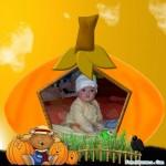 Fotomontaje en una calabaza para halloween