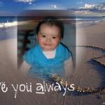 Fotomontaje de amor en la playa