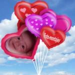 Fotomontaje en un globo de corazón