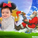 Fotomontaje navideño con Santa en las nubes