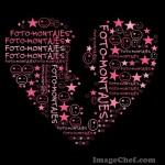 Mosaico de letras con forma de corazón partido