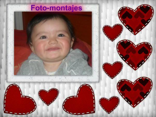 marco para fotos con corazones | Fotomontajes Gratis Online