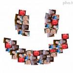Collage con 60 fotos en forma de una carita feliz