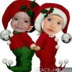 Fotomontaje con dos duendecillos navideños