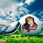 Fotomontaje en una pelota de fútbol