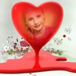 Fotomontaje en un corazón rojo por San Valentin