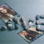 Fotomontaje de amor con detalle de piedras