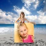 Montaje para fotos con una modelo en la playa