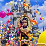 Fotomontaje  en un castillo con muchos globos