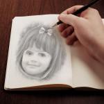 Fotomontaje con dibujo de lápiz en un cuaderno