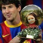 Fotomontaje en el balon de oro de Lionel Messi