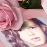 Fotomontaje con una bella rosa rosada