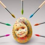 Fotomontaje decorando un huevo de Pascua