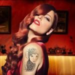 Fotomontaje en tatuaje de una sexy modelo