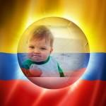 Fotomontaje del mundial con la bandera de Colombia