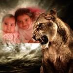 Fotomontaje con un feroz tigre