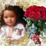 Fotomontaje con un bello ramo de rosas