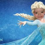 Fotomontaje de rostro con Elsa de Frozen