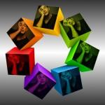 Fotomontaje para fotos en cubos de colores