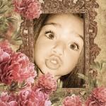 Marco para fotos con flores y detalle antiguo
