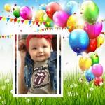 Fotomontaje con globos de feliz cumpleaños
