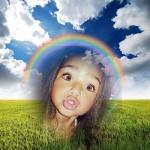 Montaje para fotos con paisajes y arco iris