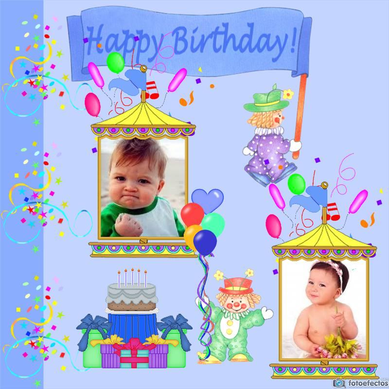 Marco de feliz cumpleaños para dos fotos